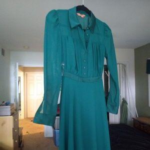 ModCloth chiffon shirt dress XXS - Green NWOT